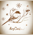 greeting card with bullfinches vector image