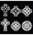 Irish Scottish Celtic white cross on black vector image vector image