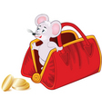 mouse handbag and money vector image vector image