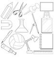 set of school related objects vector image