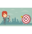 Business woman gets right on target vector image