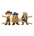 Three detectives looking for clues vector image vector image