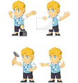 Blonde Rich Boy Customizable Mascot 17 vector image