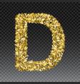 gold glittering letter d shining golden vector image