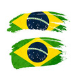 grunge brush stroke with brazil national flag on vector image