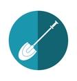 shovel tool element camping blue circle shadow vector image