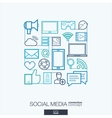 Social media integrated thin line symbols Modern vector image