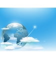 planet earth in the clouds against the sky vector image