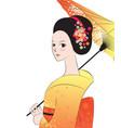 beautyful japanese woman wear kimono vector image