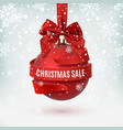christmas sale decoration with red bow and ribbon vector image