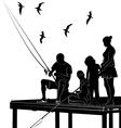 fishing family vector image