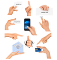 hands holding business objects vector image
