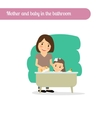 Mother and baby in the bathroom vector image