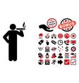 Smoking Man Flat Icon with Bonus vector image