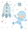 Cosmonaut and rocket vector image