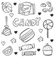 various candy doodles vector image