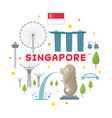 singapore travel attraction label vector image
