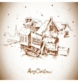 Vintage greeting card with winter landscape vector image vector image