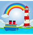 Ship floating in the ocean vector image vector image