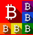 bitcoin sign set of icons with flat vector image