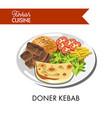 doner kebab with fresh vegetables tender cheese vector image