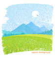 landscape nature mountain background with fields vector image