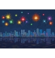 Night city landscape with fireworks seamless vector image