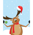 reindeer with santa hat vector image