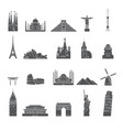 world famous city landmark silhouettes vector image
