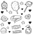 hand draw candy various doodle style vector image