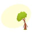 funny comic tree character feeling sad upset vector image