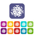 Round viral bacteria icons set vector image