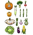 Colorful happy garden vegetables cartoon vector image vector image