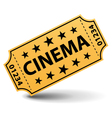 yellow cinema ticket vector image vector image