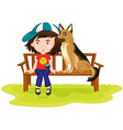 Girl and dog sitting in the park vector image vector image