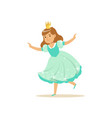 beautifull little girl princess in a light blue vector image