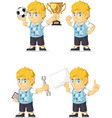 Blonde Rich Boy Customizable Mascot 18 vector image