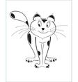 Cartoon cat black outline vector image