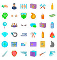 courthouse icons set cartoon style vector image