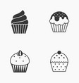 cupcake icon set silhouette vector image