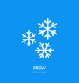 cute white snowflakes flat line icon on blue vector image