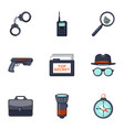 detective icons set cartoon style vector image