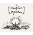 Drawn man top mountain winner concept explorer vector image
