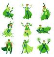 eco superhero characters set young men and women vector image
