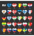 European Union flags in hearts vector image