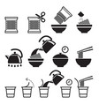 instant noodles icons set vector image