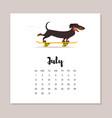 july dog 2018 year calendar vector image