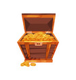 open pirate chest full of golden coins shiny vector image