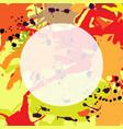red orange maroon ink splashes round frame vector image