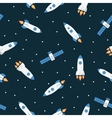 Seamless space pattern with rockets and stars vector image